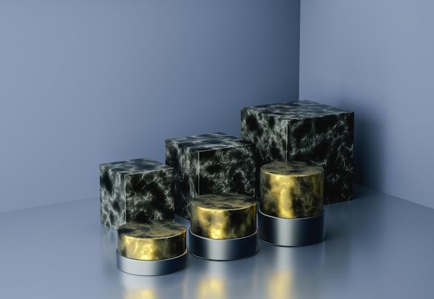 Luksusowy marmur renderowania 3d ze złotą geometrią podium. streszczenie geometryczny kształt puste podium