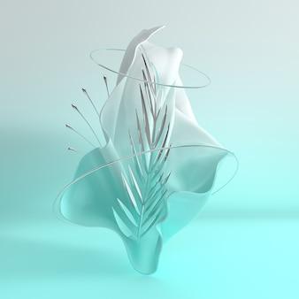 Luksusowy miękki materiał tekstylny w ruchu ze srebrnym, metalicznym tropikalnym liściem palmowym i pierścieniami renderowania 3d
