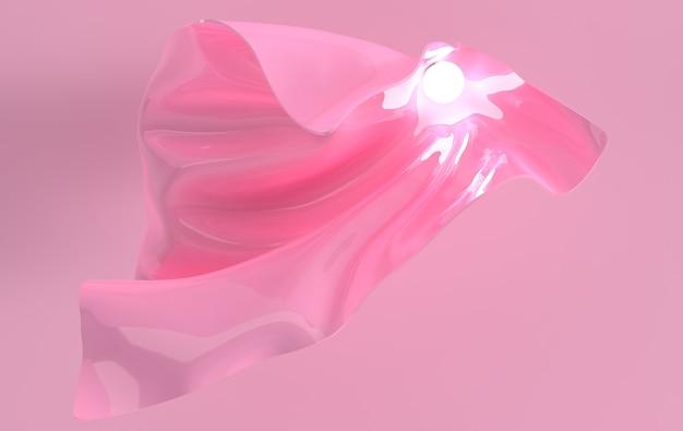 Luksusowy miękki materiał tekstylny w ruchu ze świetlistą kulą renderowania 3d