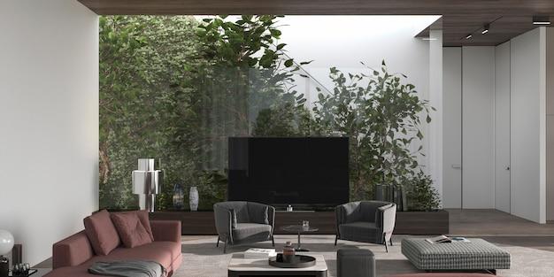 Luksusowy minimalistyczny wystrój wnętrz. pokój dzienny z roślinami tła i tv 3d renderowania ilustracji.