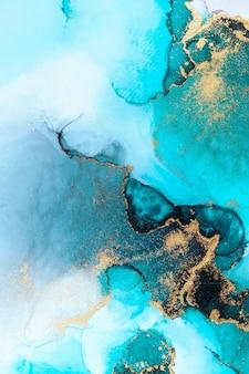 Luksusowy niebieski streszczenie tło marmuru płynnego atramentu sztuki malowania na papierze.