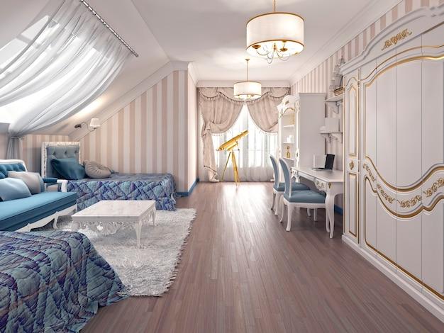 Luksusowy nowoczesny salon wykonany w stylu art deco w odcieniach ciemnego brązu. projekt wykonany w kolorze brązowo-żółtym. renderowania 3d.