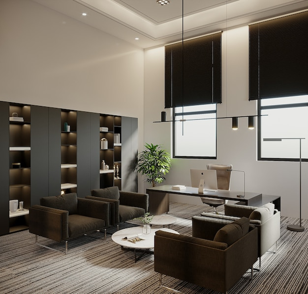 Luksusowy pokój biurowy z meblami, renderowania 3d
