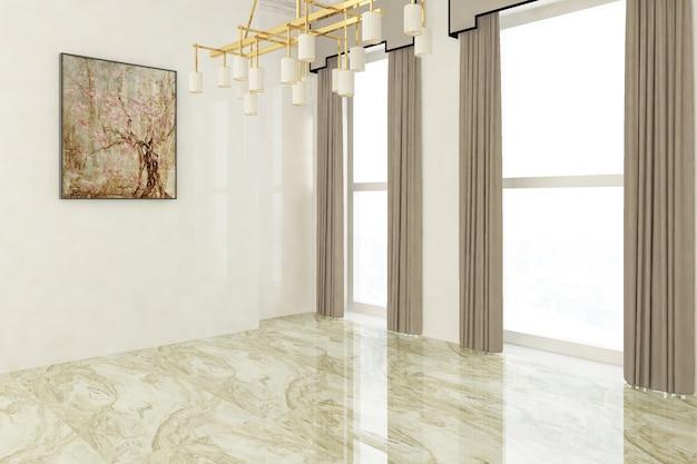 Luksusowy pokój z marmurową podłogą