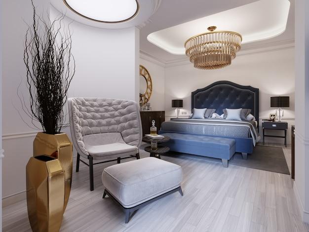 Luksusowy prezydencki pokój hotelowy z sypialnią i otwartą łazienką w bieli i jasnej kolorystyce w nowoczesnym stylu. renderowanie 3d.