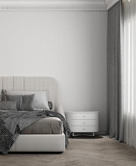 Luksusowy projekt wnętrza sypialni ma wygodne łóżko, stolik boczny z białą ścianą