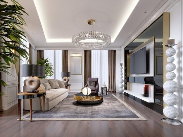 Luksusowy salon w nowoczesnym stylu z sofą, fotelem, designerskimi meblami, szafką rtv, dużym ozdobnym świecznikiem, okrągłym kryształowym żyrandolem. renderowania 3d.