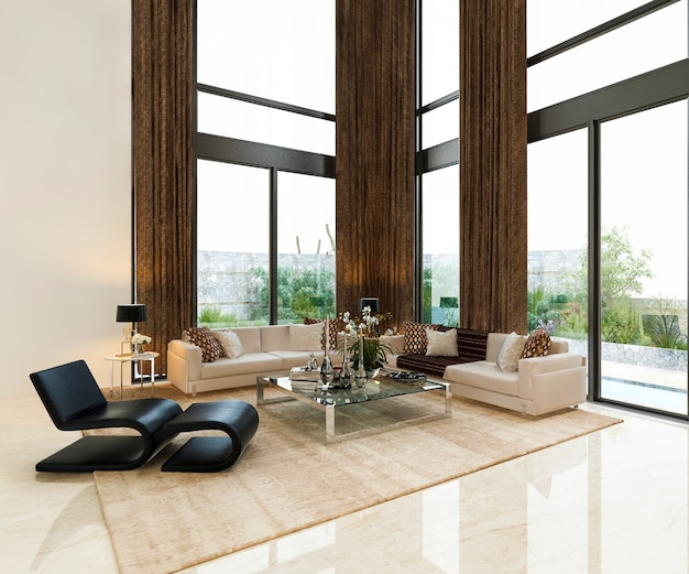 Luksusowy salon w salonie z wysokim oknem