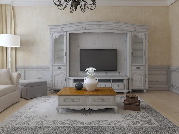 Luksusowy salon w stylu prowansalskim z gipsowymi ścianami i systemem ściennym ze starym dywanem i ekskluzywnym niskim stołem.