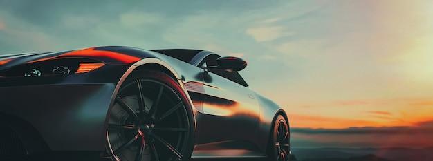 Luksusowy samochód zaparkowany na górze. renderowania 3d i ilustracji.