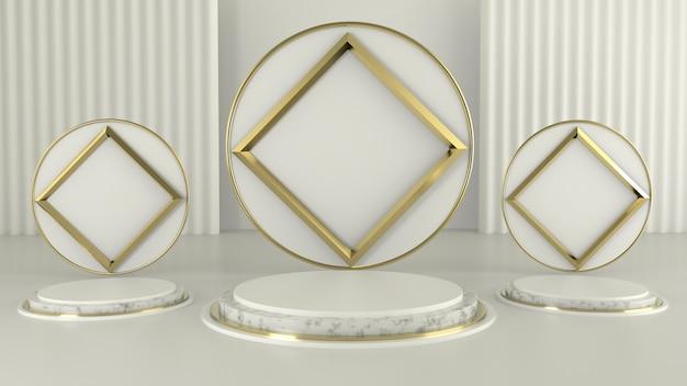 Luksusowy wyświetlacz na podium do prezentacji produktu, kolory biały i złoty