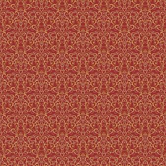 Luksusowy złoty królewski wzór na czerwonym tle. do tapety, zawijania, tekstyliów, tła strony internetowej, zaproszenia, projektowania mody.