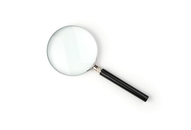 Lupa Z Czarnym Uchwytem Na Białym Tle. Premium Zdjęcia