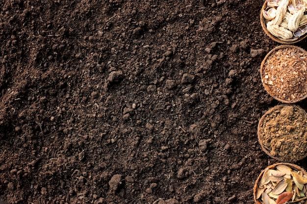 Łupiny orzechów, suche liście, trociny, obornik ułożony na luźnej glebie.