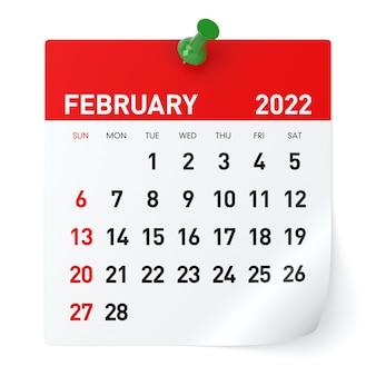 Luty 2022 - kalendarz. na białym tle. ilustracja 3d