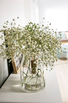 Łyszczec wazon w białym salonie