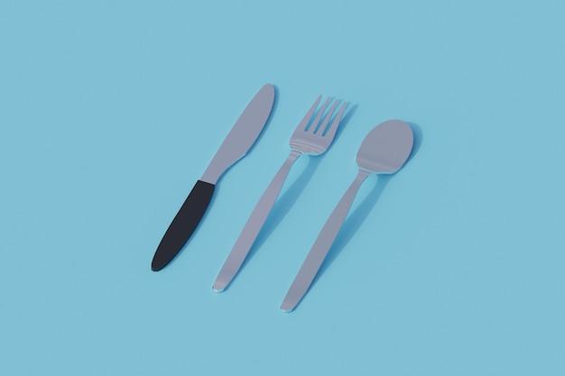 Łyżka nóż widelec pojedynczy izolowany obiekt. 3d render ilustracji izometryczny
