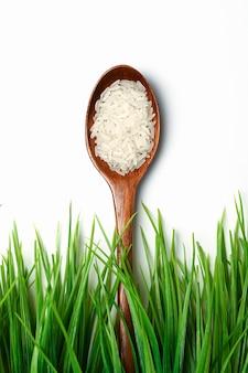 Łyżka ryżu w pobliżu trawy. na odosobnionej przestrzeni