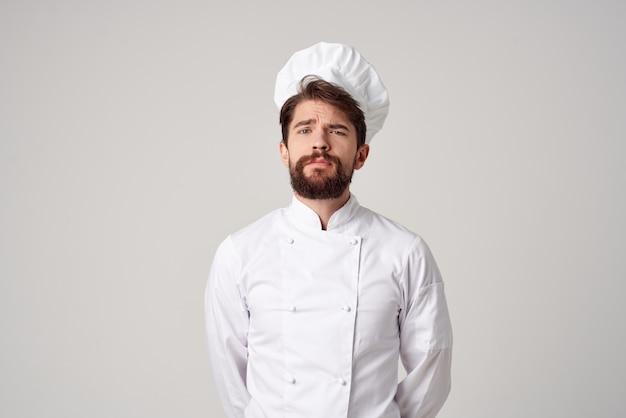 M??czyzna kucharz restauracja us?ugi profesjonalny gest d?oni stwarzaj?cych studio. zdjęcie wysokiej jakości