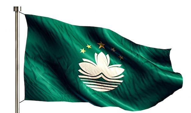 Macau national flag izolowane 3d białe tło