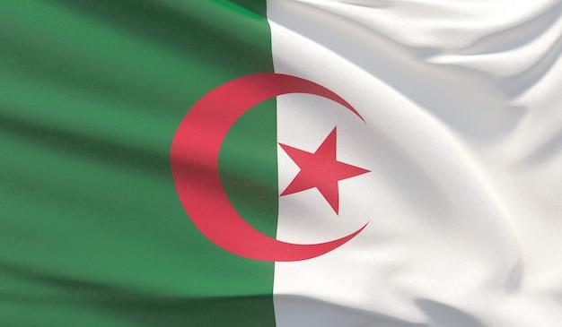 Macha flagą narodową algierii. machał bardzo szczegółowe renderowania 3d z bliska.