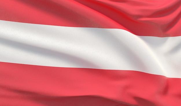 Macha flagą narodową austrii. machał bardzo szczegółowe renderowania 3d z bliska.