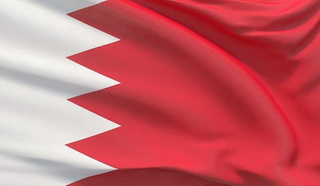 Macha flagą narodową bahrajnu. machał bardzo szczegółowe renderowania 3d z bliska.