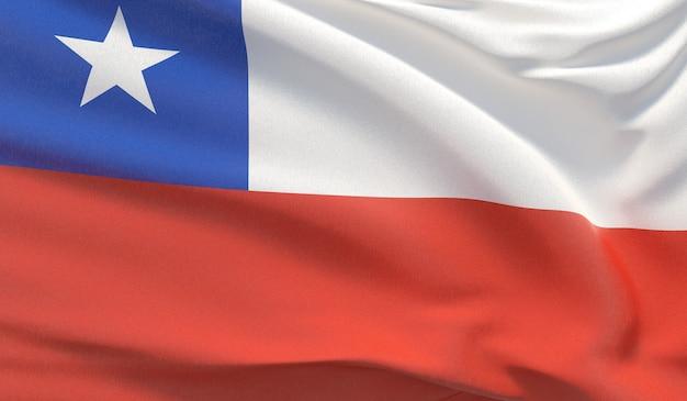 Macha flagą narodową chile. machał bardzo szczegółowe renderowania 3d z bliska.