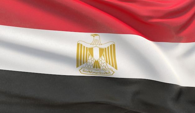 Macha flagą narodową egiptu. machał bardzo szczegółowe renderowania 3d z bliska.