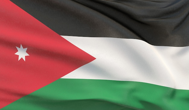Macha flagą narodową jordanii. machał bardzo szczegółowe renderowania 3d z bliska.
