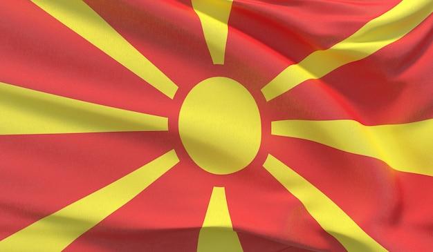 Macha flagą narodową macedonii północnej. machał bardzo szczegółowe renderowania 3d z bliska.