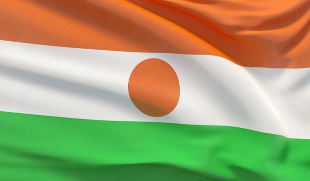 Macha flagą narodową nigru. machał bardzo szczegółowe renderowania 3d z bliska.