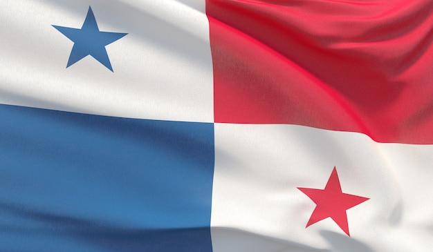 Macha flagą narodową panamy. machał bardzo szczegółowe renderowania 3d z bliska.