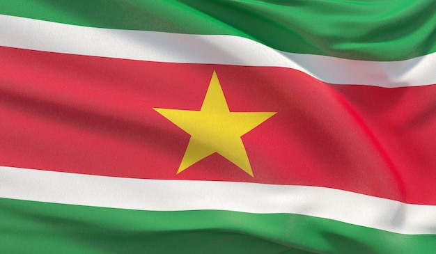 Macha flagą narodową surinamu. machał bardzo szczegółowe renderowania 3d z bliska.