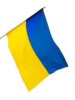 Macha flagą narodową ukrainy na białym tle