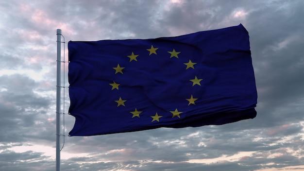 Macha flagą unii europejskiej na wietrze na niebie zachód słońca. renderowanie 3d
