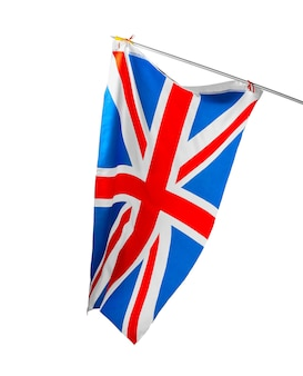 Macha flagą wielkiej brytanii na białym tle