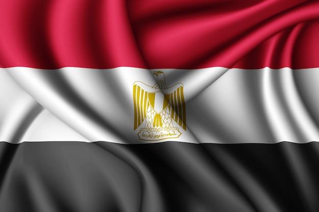 Macha jedwabną flagą egiptu