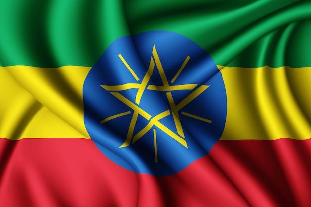 Macha jedwabną flagą etiopii