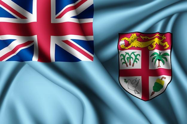 Macha jedwabną flagą fidżi