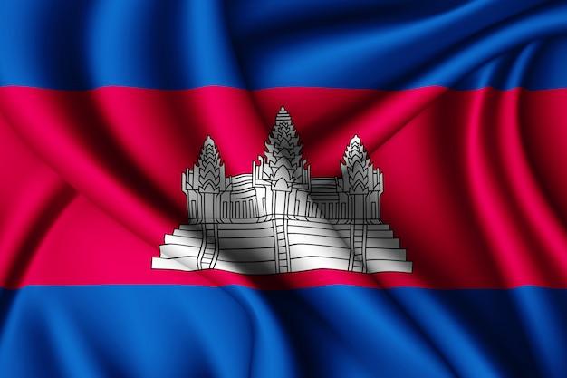 Macha jedwabną flagą kambodży