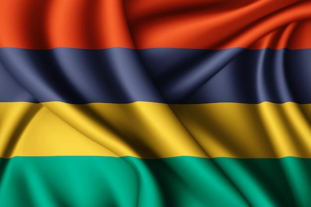 Macha jedwabną flagą mauritiusa