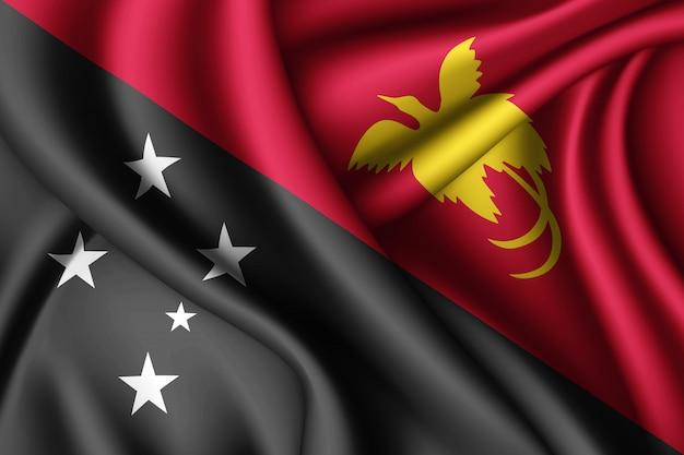 Macha jedwabną flagą papui nowej gwinei