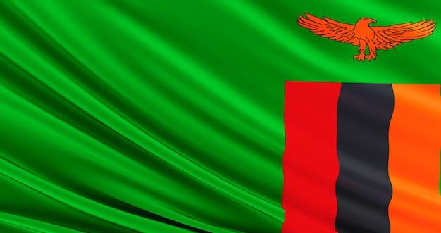 Macha tkanina flaga zambii, jedwabna flaga zambii.