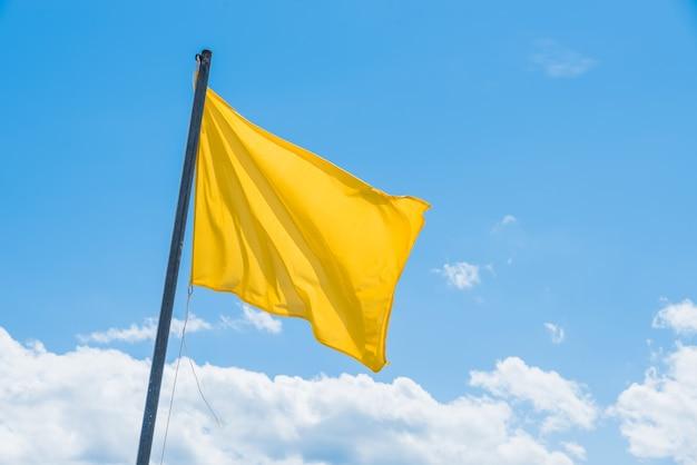 Macha zieloną flagą wskazującą na potencjalnie wysokie fale na plaży