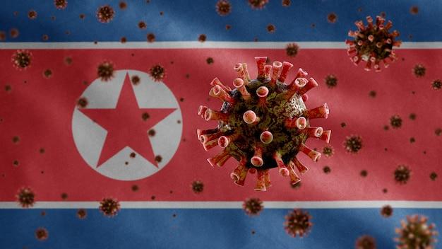 Machająca flaga korei północnej i wirus mikroskopowy koronawirusa