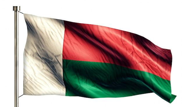 Madagaskar flaga narodowa pojedyncze 3d białe tło