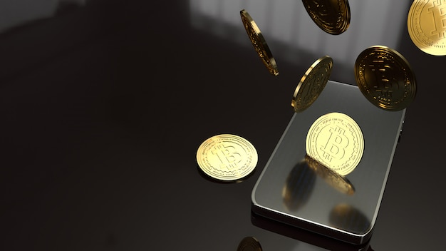 Mądrze telefonu i bitcoin rendering 3d dla biznesowego pojęcia.