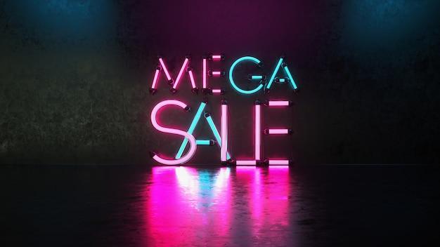 Maga sprzedaż w stylu neonowym.