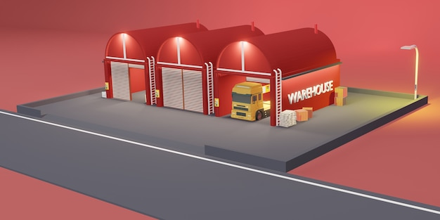 Magazyn logistyczny nowoczesny magazyn ilustracja 3d sklepu z kreskówek